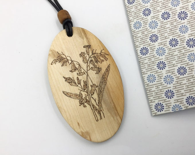 Oval Bluebell pendant - Large Wooden necklace - Handmade Pyrography / Wood Burnt - Hazel wood Oval - Flowers floral BLUEBELLS - flower gift