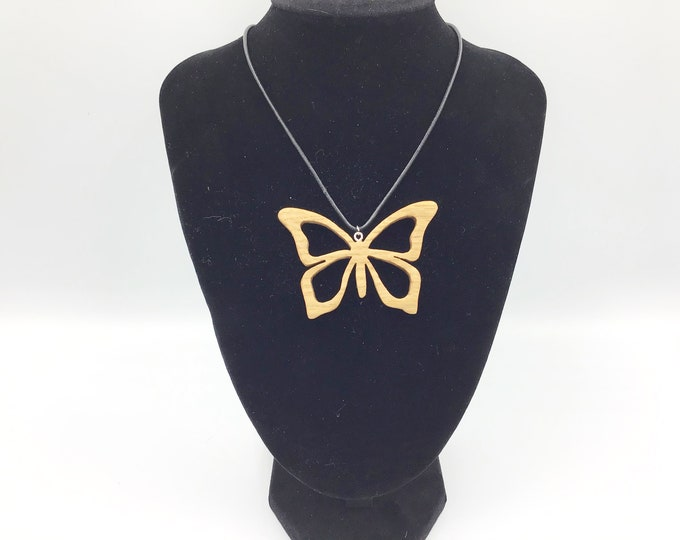 Butterfly necklace - Oak Wood pendant necklace - Handmade pendant - Wooden butterfly necklace - Nature jewellery choker - Oak Butterflies