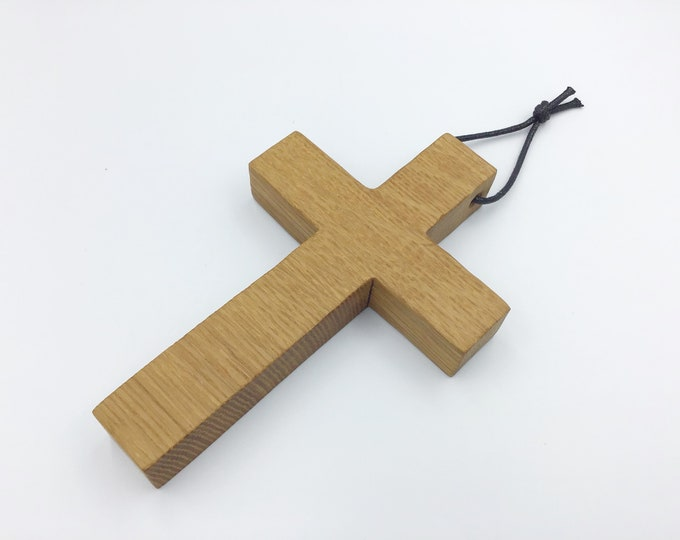Oak wood cross - wall hanging Oak cross - Simple, stylish Oak Wall Plaque - Solid natural wooden crucifix - Sustainable Welsh wood