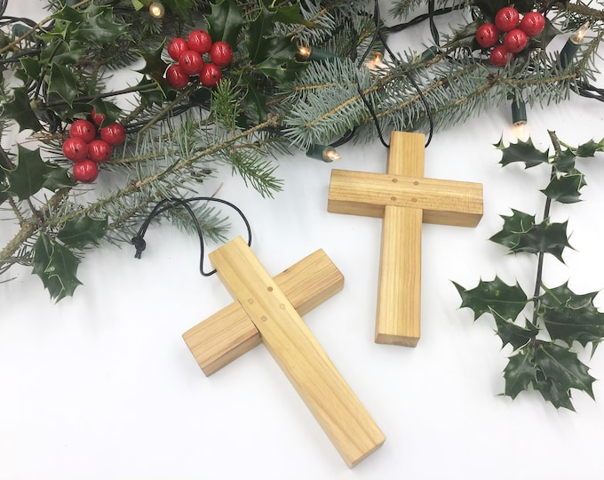 Cherry wood cross - Large 15cm wall hanging Cherry cross - Solid natural wooden wall crucifix - Sustainable wood - Christmas home decor gift