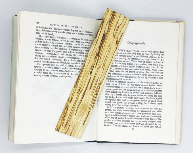 Bookmark - Spalted Birch Book Mark - Book lover gift - Natural rustic - Wooden bookmark from sustainable wood - Bookworm gift - Free UK p&p