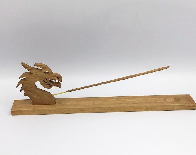 Welsh Dragon incense holder. Solid Oak wood. Handmade. Joss stick holder made in Wales from native Oak wood. Welsh gift. Home decor gift