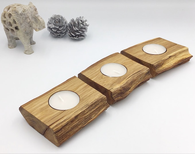 Candle holder set - Set of 3 ancient oak tealight candle holders cut from the same log - Stylish weathered Oak - Couple Christmas gift idea