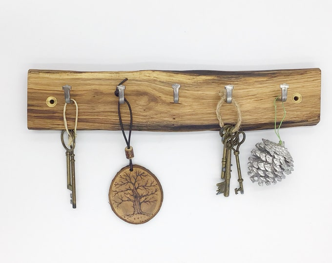 Wall Mounted Key Rack - Oak wall key rack - 5 hooks - Solid Oak heartwood - With hanging hooks / pegs - Woodland decor. Rustic Forest Home