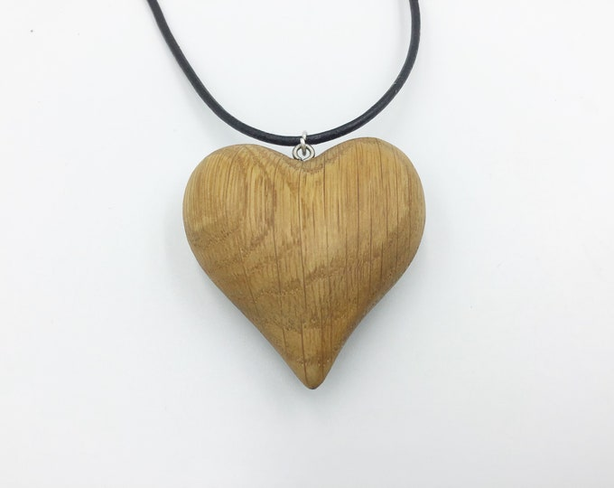 Oak heart necklace - Little wooden love heart pendant necklace - 'Be my Valentine' - Handmade Valentine gift for her - Valentine love heart