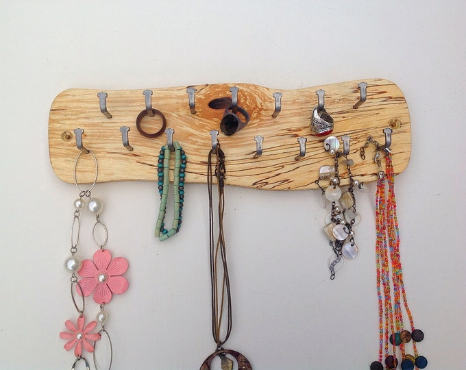 Birch jewellery display rack. Hanging display for jewellery necklaces etc. Wall mounted spalted wood  rack- 23 hanging hooks. Woodland rack