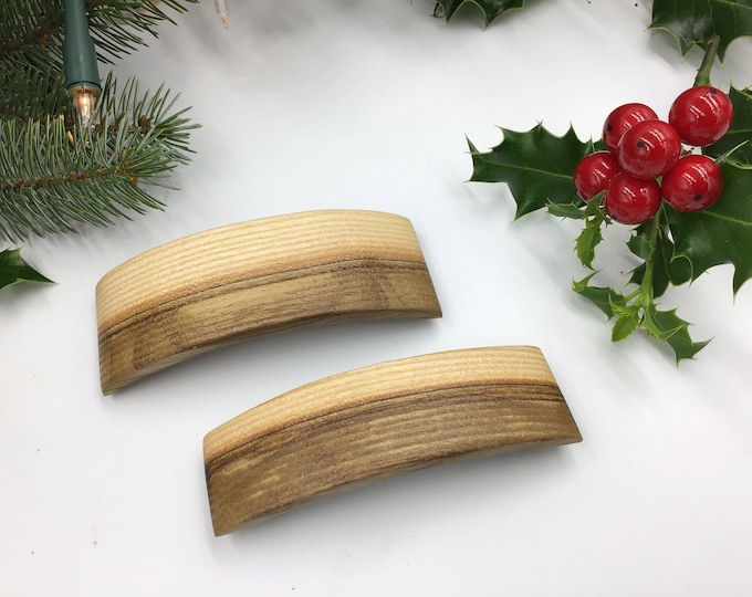 Pair of Stripey Ash Hair barrette - French barrette slide / clasp - Gift box set - Woman's rustic hair accessory - Christmas hair gift idea