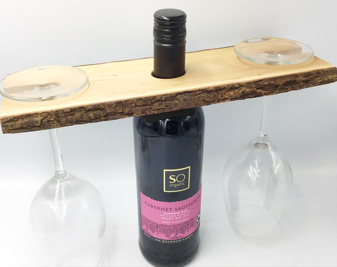 Wine glass caddy - Wine butler - Wine glass holder - Solid Willow wood wine accessory - Holds 2 wine glasses- Sustainable woodland eco  gift