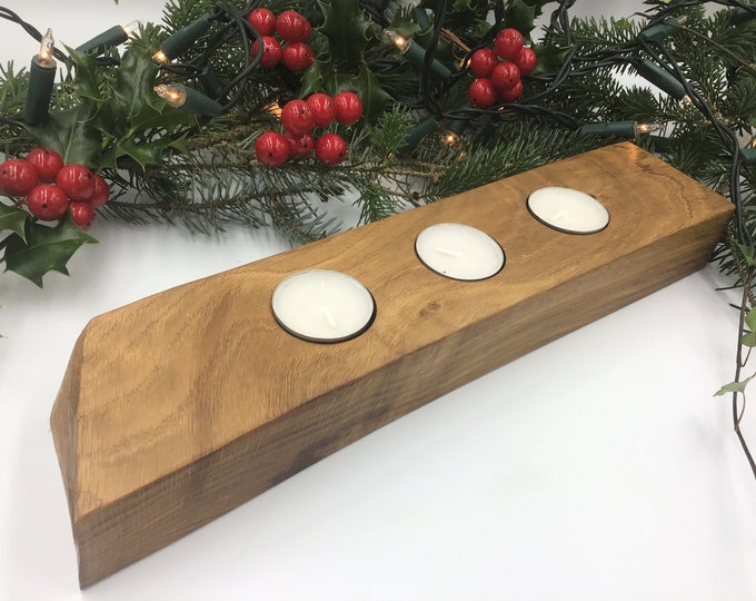 Candle holder - Ancient Dark Oak wood branch - Tea light holders - Primitive wooden gift - Festive Christmas home decor - fireplace candle