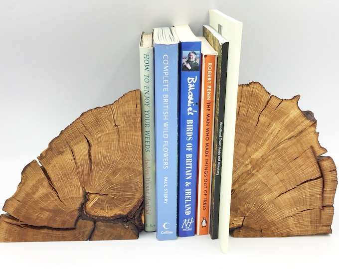 Bookends. Bookend pair. Stylish Unique book lover / book worm gift. Solid Large Heavy. Decorative Oak tree branch. Modern Rustic decor style
