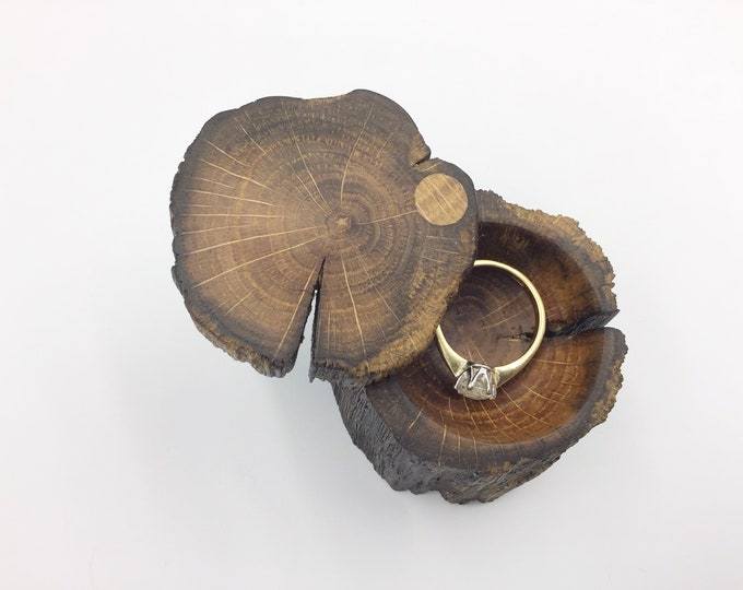 Ring box - Engagement Ring Box - Natural Wooden Proposal Box - Ring Holder - Hand carved ring dish – Primitive ancient Welsh Oak wood