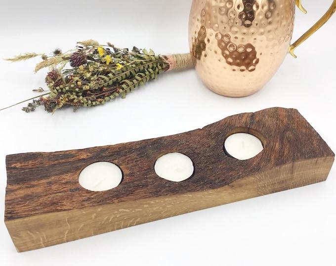 Oak Candle holder - Table centrepiece - Tableware - Weathered Oak heart wood holder for tealights - Completely unique OOAK tealight holder