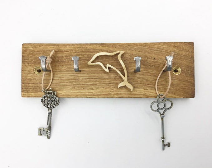 Dolphin Key rack - Reclaimed Oak Parquet Flooring - 21cm wide 4 hooks - Wall mounted Dolphin Sea Life Surfer key display - Made to Order