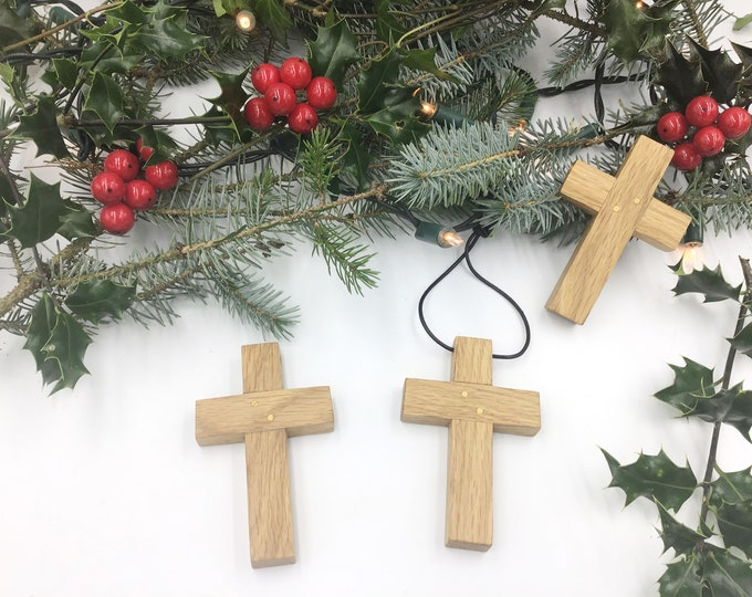 Oak wood cross - medium 10cm wall hanging Oak cross - Handmade Oak Wall Crucifix - Religious Christmas gift idea - Christian home decor
