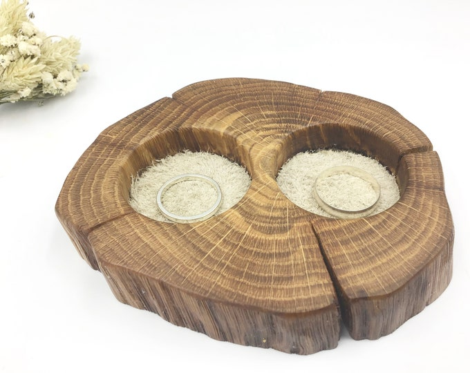 Wedding ring bearer dish. Natural Oak Wood & cream suede. Wedding ring pillow accessory decor. Keepsake Bedside jewellery bowl / tray.
