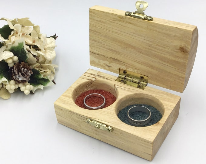 Jewellery box.  Wooden ring box with lid. Treasure chest. Wedding Ring display box. Luxury wooden box. His and Her Suede dishes. Blue & Red