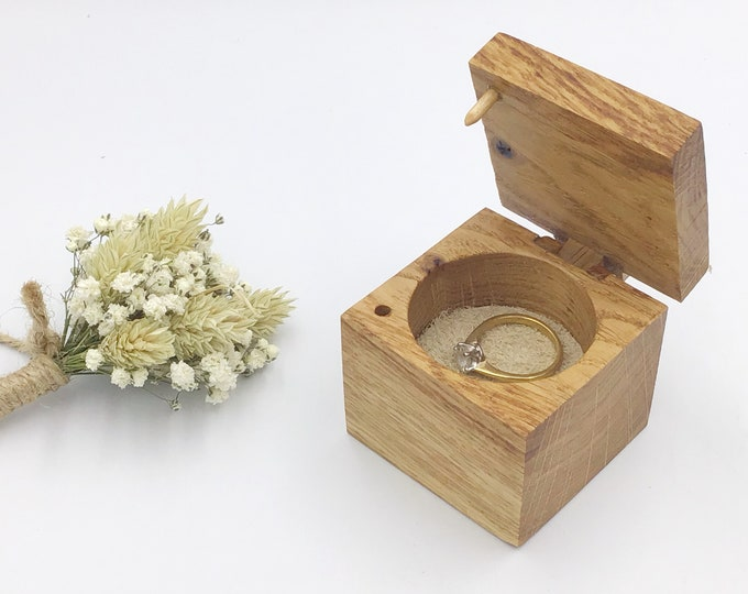 Ring Box - Engagement Ring Holder - Wooden Ring Box - Handmade Wooden Hinge & Clasp with Suede Inlay (range of colours available) - Oak Wood