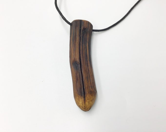 Oak pendant - Large wooden necklace - Ancient primitive Oak Wood – Handmade unique tactile Oak pendant for man - Christmas gift - Gift boxed