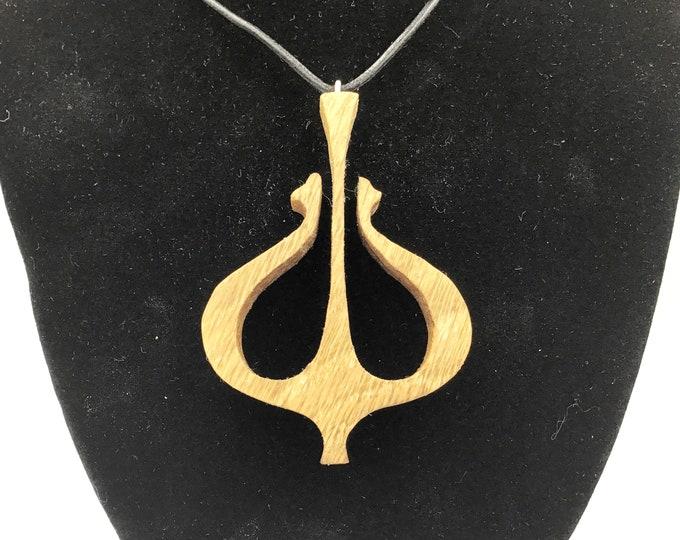Viking Anchor necklace - Wooden pendant necklace - Handmade Oak wood Celtic pendant - Large Viking Norse Men jewellery - Wearable Celtic art