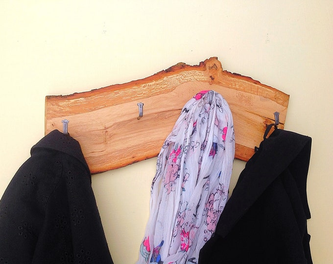 Oak coat rack - Wall mounted - Live edge - Woodland / Forest home decor - Modern rustic decorative coat pegs - Local sustainable wood - Eco