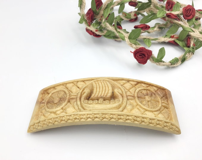 Hand carved Viking Hair Barrette - Carved by Paul in UK - gift for Viking lover - Unique design, Viking ship and 2 shields - Sycamore wood