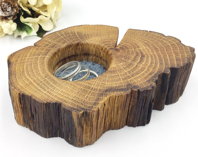 Primitive Ring or trinket dish. Bedside jewellery bowl / dish / tray. Earring Holder - Natural Ancient Oak Wood & blue suede - gift