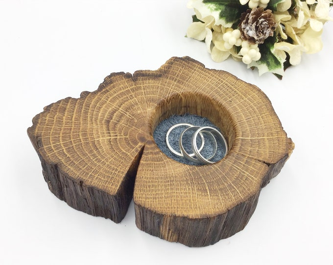 Ring or trinket dish. Bedside jewellery bowl / dish / tray. Earring Holder - Natural Oak Wood & blue suede - mother sister girl friend gift