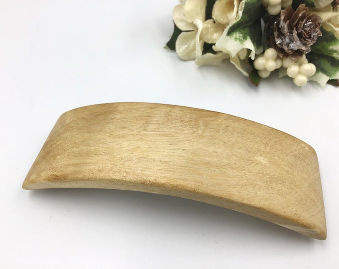 Birch Burl hair barrette. French barrette slide / clasp from natural Birch wood. Woodland Hair clasp accessory. Rustic wood and metal
