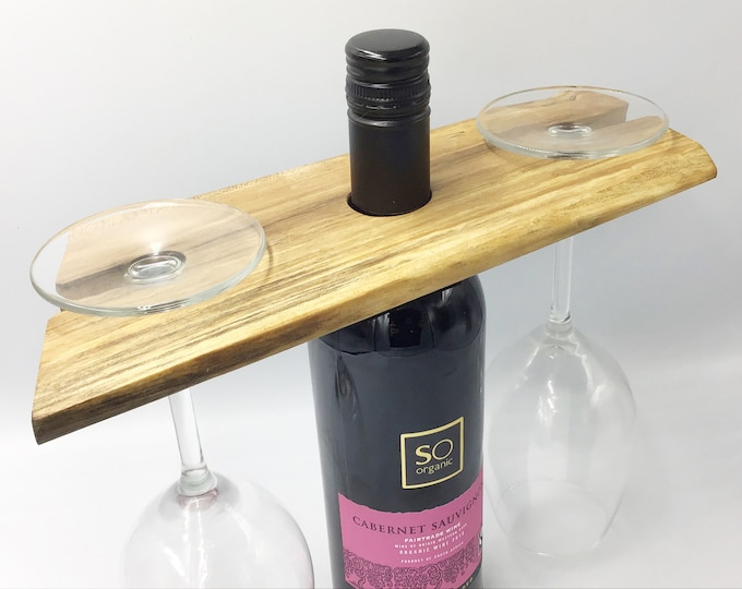 Wine glass holder - Spalted hardwood Wine Caddy - Wine accessory - Great for serving wine - Holds 2 glasses - Woodland eco Christmas gift