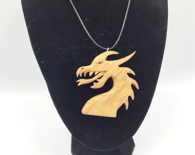 Carved Oak Welsh Dragon pendant - Hand carved wooden pendant necklace - Welsh Christmas Gift - Handmade in Wales - Dragon jewellery gift