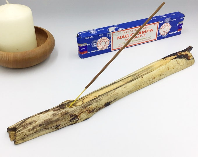 Driftwood Joss stick incense holder. Incense burner. Incense stick holder. Natural wood branch from the sea. Reclaimed home decor