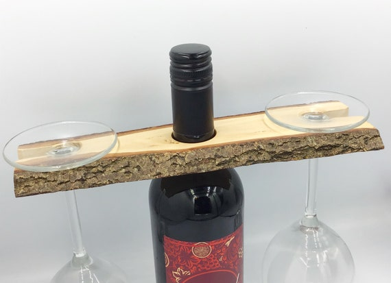 Wine butler - Wine glass holder - Wine glass holder - Solid Willow wood wine accessory for 2 wine glasses - Sustainable woodland eco  gift