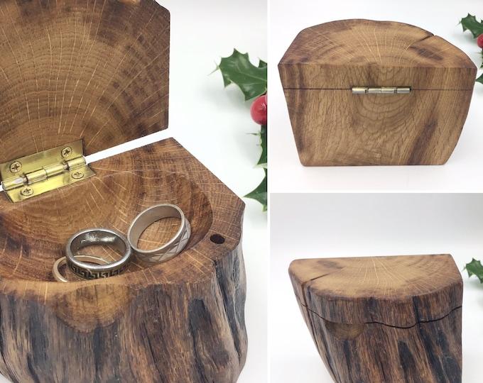 Jewellery box. Hand carved Oak wood. Dark wooden trinket or ring dish. Wife  / girlfriend / 5th anniversary gift