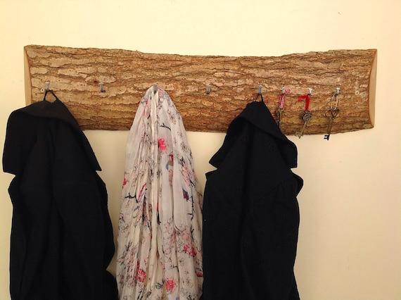 LARGE Coat Rack. Solid Oak slice. Natural coat and key rack. Live edge. Bark. Wall mounted coat stand. Hanging hooks for coats and keys