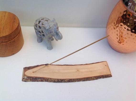 Joss stick incense holder. Hazel wood. A natural wood slice handmade incense holder with hand-carved ash collection channel. Woodland gift