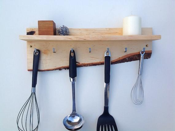 Kitchen Organiser. Wall mounted kitchen shelf. Utensil Hanging hooks. Handmade wall shelf for spice pots. Live edge Birch wood. Rustic wood