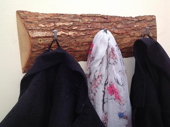 Solid Oak slice natural coat rack. Live edge. Hooks on solid oak wall rack. Branch slice. Hanging hooks for coats... Natural wood bark