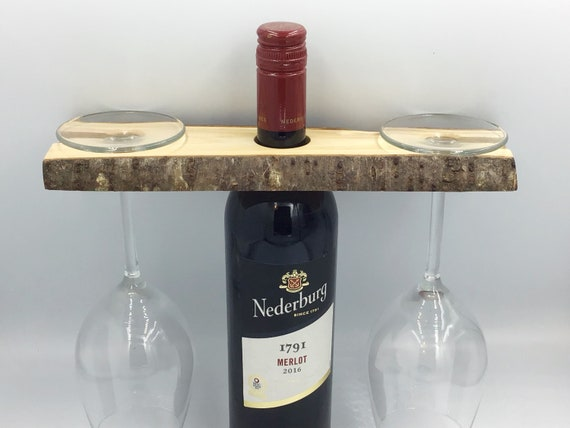Wine glass holder - Solid cherry wood - Wine accessory - Great for serving wine - Holds 2 wine glasses - Sustainable woodland eco gift idea