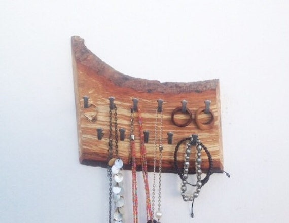 Jewellery rack. Hanging display. Oak with live edge bark. Natural wood branch. Wall mounted rack - 11 hanging hooks for necklaces etc..