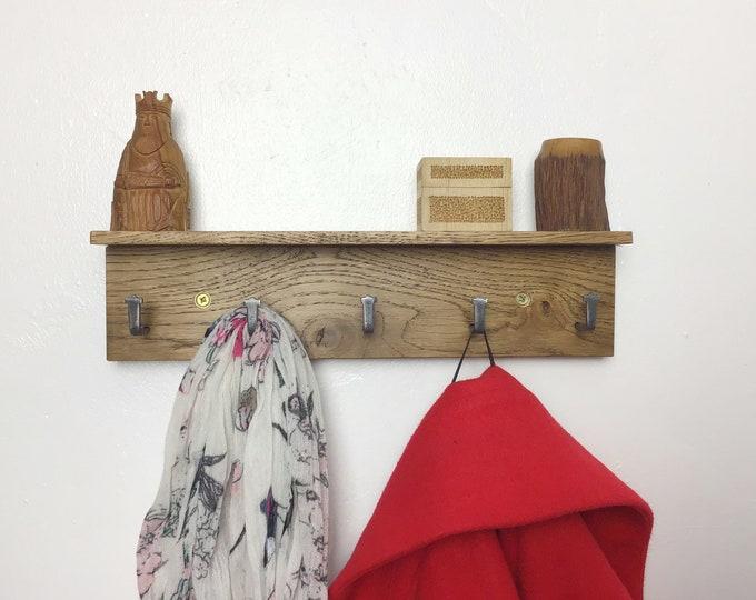 MICRO Oak Coat Rack - Dark Oak wood coat rack with 5 hooks - With or without shelf - DARK Oak small wall mounted 33cm wide - Wooden entryway