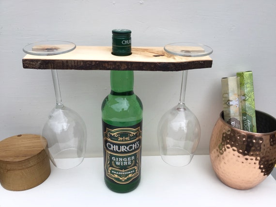 Wine butler - Wine glass holder - Solid birch wood wine caddy / butler - Home bar accessory - Sustainable woodland - Rustic couple gift