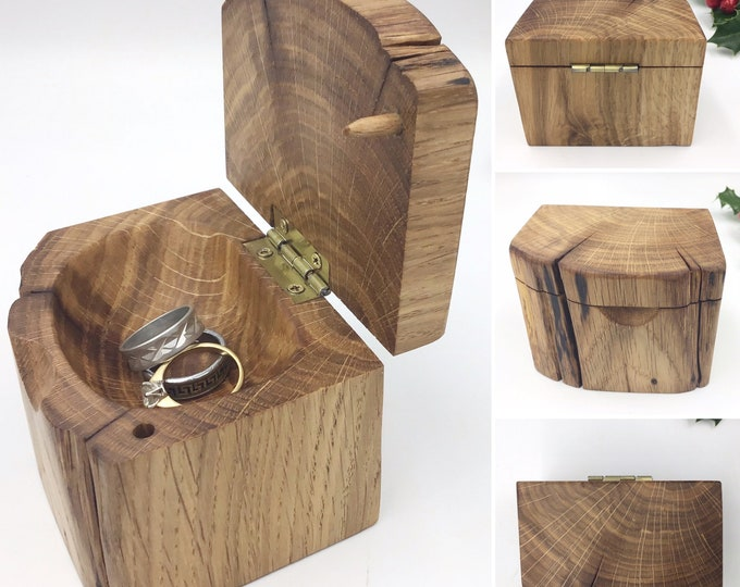 Jewellery box. Hand carved jewellery / ring dish. Ancient primitive dark Oak wood. Perfect for storing rings or trinkets by the bedside