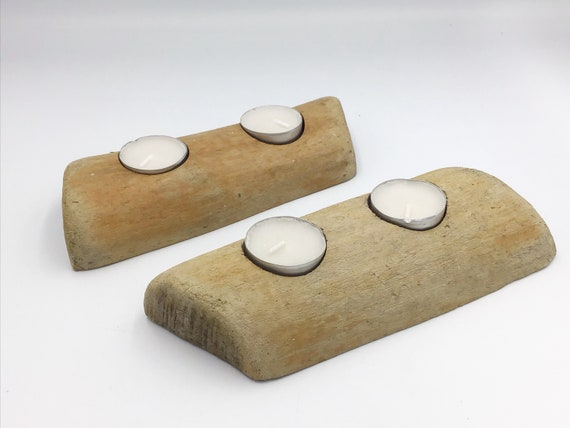 Driftwood tealight candles - set of 2 - Pair drift wood candle holders for tea lights. Beach style. Boho. Buddhist. Meditation Candle gift