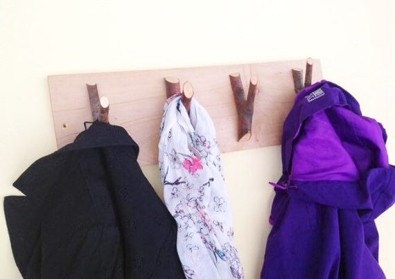 Wall mounted coat rack - Set of 4 branch coat wall hooks on lime wood plank - Coat or school bag pegs with bark - Woodland nursery decor