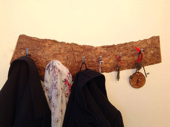 Coat and key rack. Large Coat Rack. Live edge Oak. Solid oak wall mounted rack. Solid Oak Branch slice. Hanging hooks for coats... Wood bark