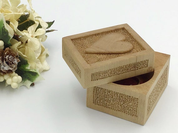 Ring box. Engagement ring box. Hand carved heart on texturised lid. Solid wood proposal box. Valentines Ring holder gift for her. Heirloom.