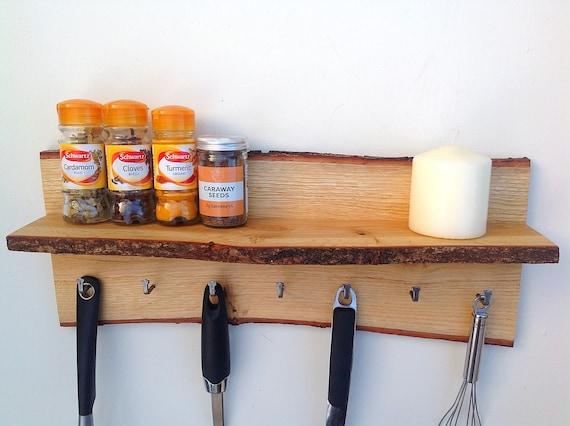 Kitchen Organiser. Wall mounted kitchen shelf. Utensil Hanging hooks. Handmade wall shelf for spice pots. Live edge Oak wood. Rustic wood