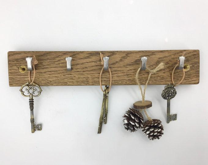 Dark Oak Key Rack - 5 hook wall mounted key hooks - Sustainable Oak wood (Dark Oak eco wood stain) - Strong metal hooks