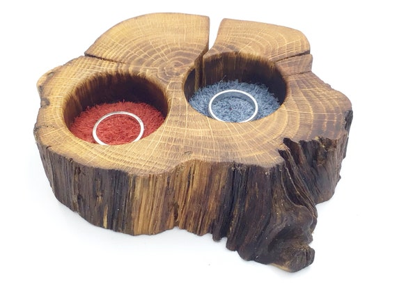 Ring Bearer Box. His and Hers Wedding ring presentation. Woodland wedding. Wooden display dish for wedding rings. Red & blue suede. Heirloom