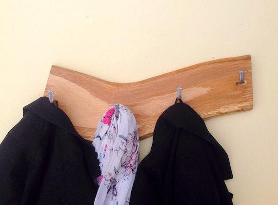 Coat rack - Solid Oak coat pegs - Wall mounted - Live edge - Hooks on natural wood - For coats, school bags etc - Modern rustic wall rack